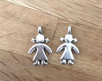 Antique Silver Tone Tibetan Silver Girl / Female Pendant Charms 27mm x 16mm