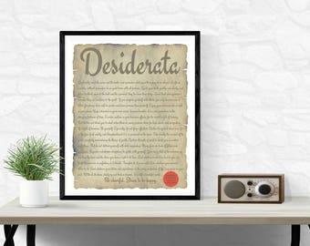 Antique Gift. Graduation Gift. Desiderata. Desiderata Poster. Desiderata Poem. Full Poem. Favorite Poems. Best Loved Poems. Parchment Style