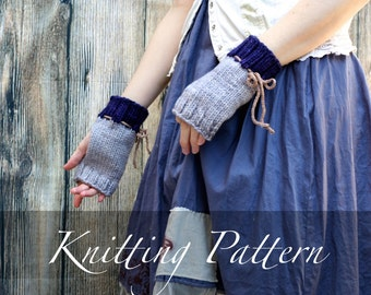 Knitting Pattern - Hyacinth Garden Mitts - Fingerless Gloves Pattern - Wrist Warmers Pattern - Knit Cuffs Pattern - Arm Warmer - Winter Knit