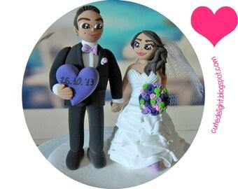 Wedding Cake Topper -Purple heart topper-CUSTOM cake topper, FUNNY cake topper, Wedding figurines, wedding topper, polymer clay cake topper,