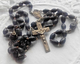 Vintage French Rosary Beads Ebony wood devotional bead Chrome Cross pilgrims medals