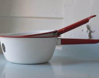 Vintage RED & WHITE Porcelain Saucepan SET Of 2