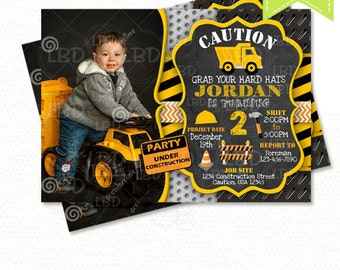 Construction Birthday Invitation, Dump Truck Invitation, Chalkboard Invitation - Style 3 - YOU PRINT