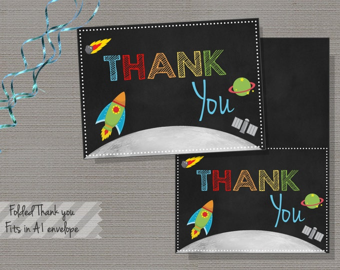 Rocket Chalkboard Thank you card, FOLDED,Rocketship Thank You Card, Rocket Ship, Boys, Birthday, Thank you card, INSTANT DOWNLOAD-Rocket