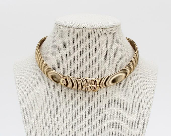 Vintage 1970s Gold Belt Buckle Choker Necklace