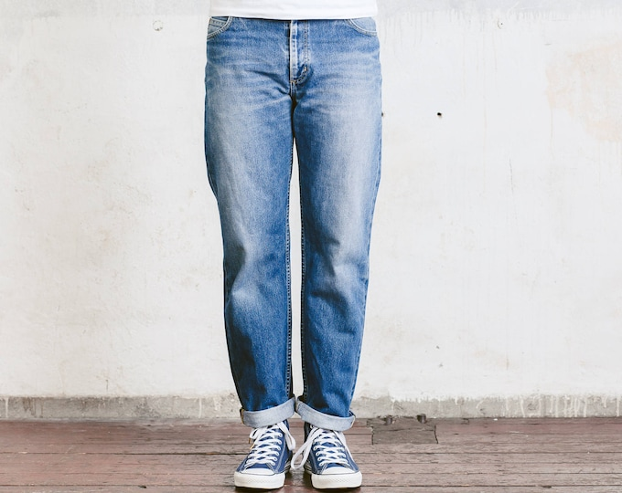Blue Lee Jeans . Mens Denim Trousers Tapered Leg Retro 90s Jeans Everyday Clothing 90s Grunge Jeans Boyfriend Wear . size W33 L30