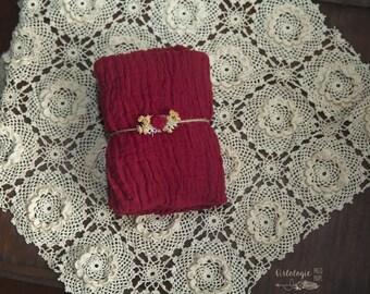 Scarlett Premium Cheesecloth Newborn Wrap Set *  Gauze Wrap * Holiday Set * Newborn Tieback * Photo Prop * Newborn Wrap * Baby Headband