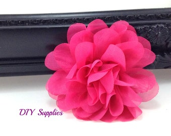 Hot pink chiffon scalloped flower - diy headband - fabric flowers - wholesale flowers - hair bow supplies - silk flowers - flower wholesale