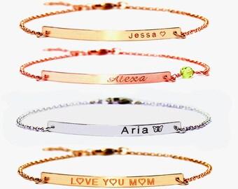 Personalized bracelet, ID & Medical bracelet, Silver bracelet, Rose gold bracelet,Bracelet with name, coordinate bar Br, Engraved bracelet.