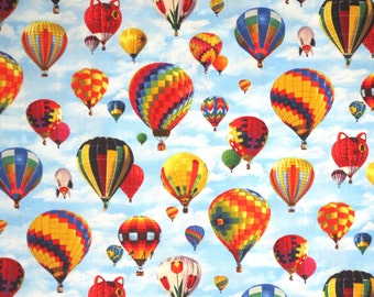 Colorful Hot Air Balloons on Sky Print Pure Cotton Fabric--By the Yard