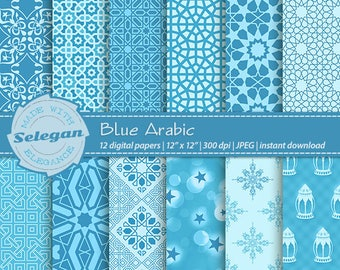 "blue digital paper "" Blue Arabic "" scrapbook printable digital background paper arabic moroccan eid islamic backdrop download"