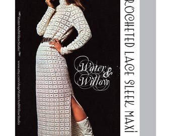 1971 Crocheted Lace Sleek Maxi Dress pattern 6 pages DIGITAL Instant Download PDF
