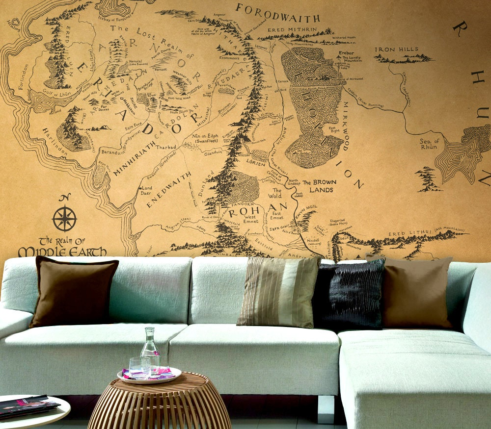 Lord of the Rings map Wallpaper Middle Earth map large
