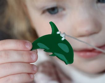 personalized whale necklace for kids, name and phone number laser engraved, acrylic, kids safety