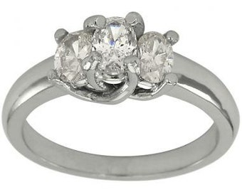 Three Stone Oval Diamond Ring 14K White Gold Engagement Ring