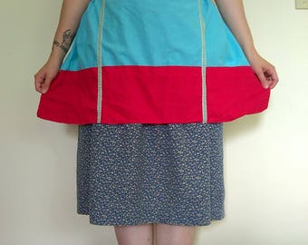Blue and Red Half Apron