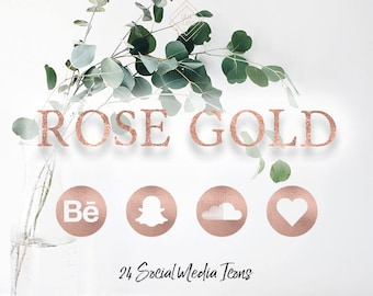 Rose Gold Social Media Icons - Rose Gold Icons - Rose Gold Social Icons - Blog Icons - Blogger Icons - Website Icons - Web Icons - Blogging