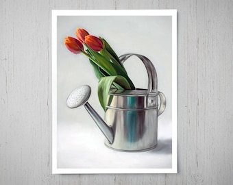 Spring Tulips - Fine Art Oil Painting Archival Giclee Print Decor by Artist Lauren Pretorius