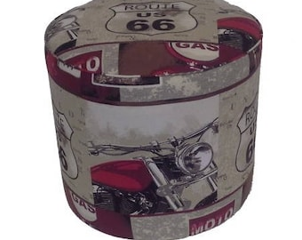 American fabric pouf route 66 motorcycle 1304