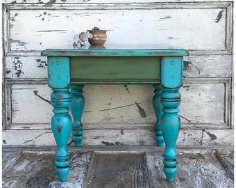 Sea Glass Inspired Wooden Side Table - End Table - Teal Table - Wooden Nightstand - Turquoise Table - Wood Side Table - Wood End Table