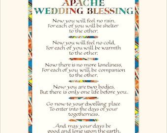 "8x10"" Apache Wedding Blessing print, wedding blessing print, wedding gift, calligraphy print"