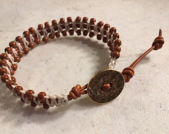 Brown Bracelet - Terra Cotta Seed Beads - Cream Macrame Jewelry - Fashion Jewellery - Trendy - Beaded - Gold Button