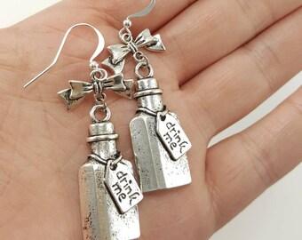 Alice in Wonderland Drink Me Earrings, Drink Me Bottle With Bows, Alice in Wonderland Jewelry