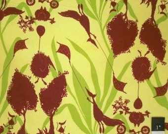 Tina Givens FTG01 Opal Owl Magical Forest Green Cotton FLANNEL Fabric 1 Yard