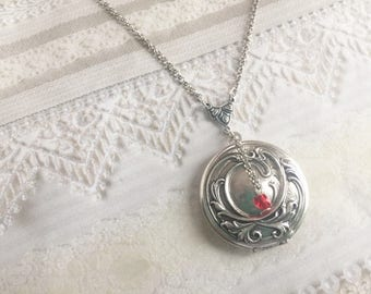 Silver Locket Necklace - ORIGINAL Elena's Locket VAMPIRE DIARIES - Jewelry by BirdzNbeez -  Wedding Birthday Bridesmaids Gift
