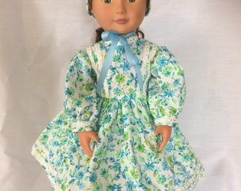 """1860's High Neck Everyday Dress with Bonnet and hoop skirt for 18"""" doll"""
