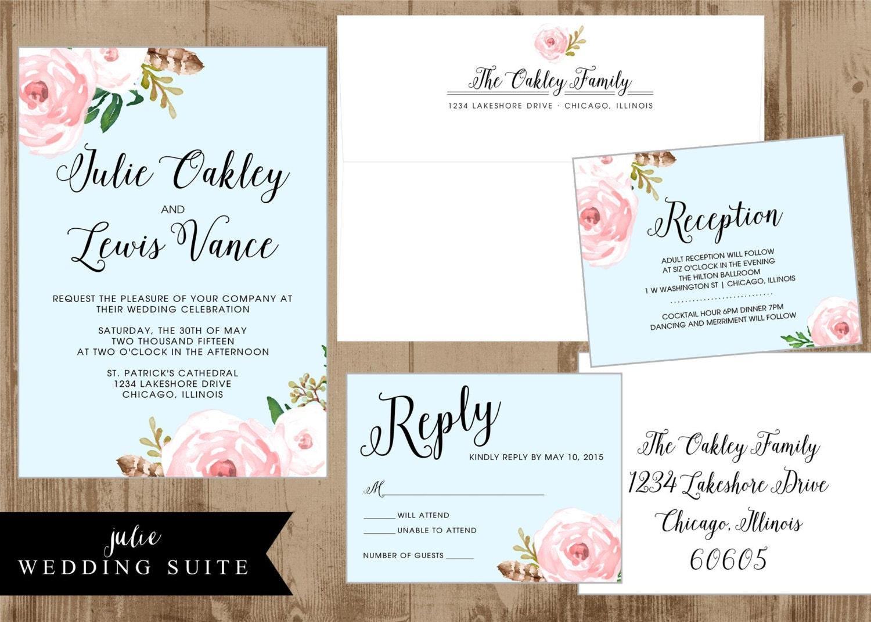 Printable Wedding Suite Invitation Reply card Reception
