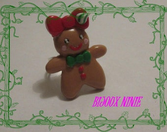 Ring Madam in polymer clay gingerbread cookie