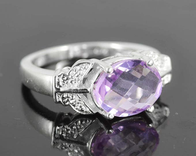 Amethyst Ring, 2.5 ct, Purple, Oval Cut, Birthstone Ring, February, Gemstone Ring, Sterling Silver Ring, Solitaire Ring, Statement Ring