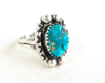 Chunky Turquoise Ring Size 5 .5 Signed Native American Southwestern Statement Jewelry Oval Cocktail Ring EM WYLIE
