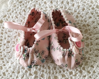 Pink Flower Baby Shoes in Two Sizes