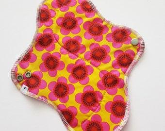 Mama Cloth Pad - Retro Pink Flowers Printed HEAVY Cloth Mama Pad Postpartum  .. 10 inch FREE SHIPPING