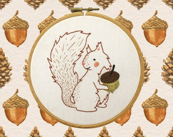 Squirrel and Acorn Embroidery KIT