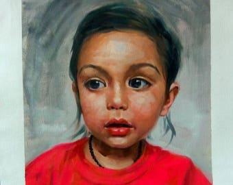 hand painted commission portrait oil painting , paint from digital photos/images , portrait custom painting