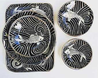 Koi Fish, Tribal, Platinum Rim, Handmade, Limited Edition, Stoneware, Made in Australia