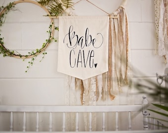 Babe Cave, Girl Nursery, Girls Room, Woman Cave, Craft Room, Pennant Flag, Bunting, Black & White