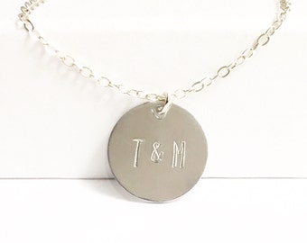 Initial Necklace, Gift for Girlfriend, Mother's Day Gift, Gift for Wife, Hand Stamped Jewelry, Anniversary Gift, Bridal Shower Gift