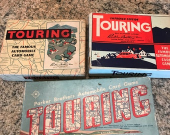3 vintage Parker Brothers Touring Automobile Card Games