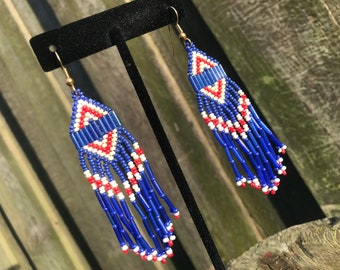 Chicago Cubs inspired chandelier seed bead earrings