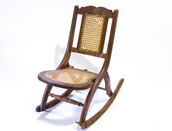 - Antique Childs Rocking Chair Folding Rocking Chair Rattan Seat Wooden  Rocker Wood Fold Up Childrens Rocking Chair Farm House Decor