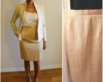 80's Beige/Gold French Woven Skirt - Size: Small/Medium