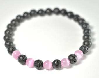 Pink Cats Eye Volcanic Rock Bracelet (Spaced)
