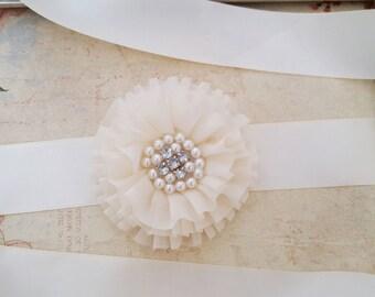 Ivory Bridal Sash, Ivory Wedding Sash, Ivory Bridal Belt, Ivory Chiffon Flower Sash, Rhinestone Sash