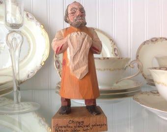 Vintage Hand Carved Surgeon / Doctor Figurine Attributed to Taschke Austria Mid Century