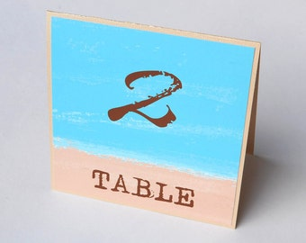 Beach Watercolor Destination Wedding Table Numbers