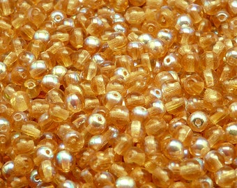 100pcs Czech Pressed Glass Beads Round 4mm Topaz AB